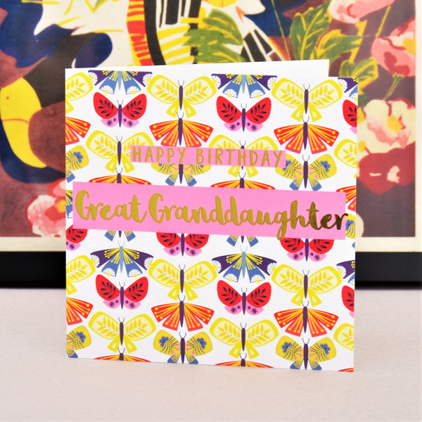 Birthday Card, Great Granddaughter Butterflies, text foiled in shiny gold
