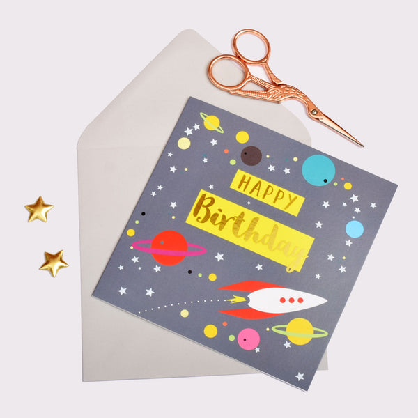 Birthday Card, Rocket and Planets, Happy Birthday, text foiled in shiny gold
