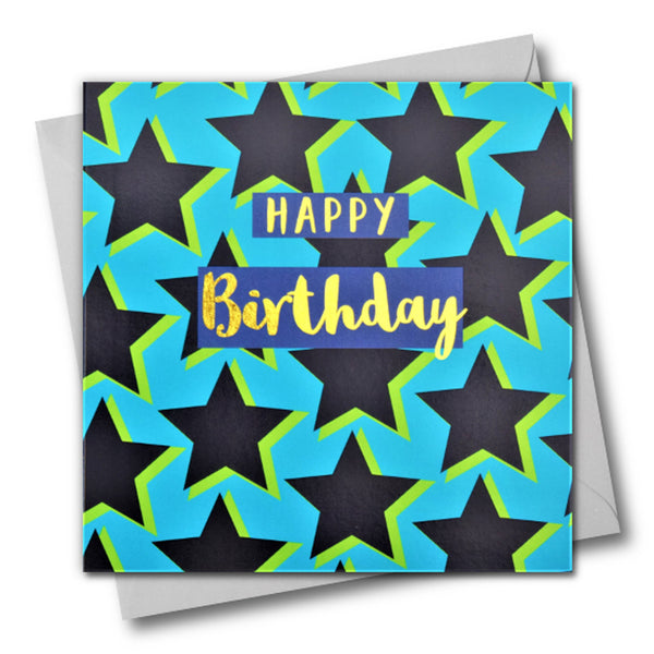 Birthday Card, Stars, Happy Birthday, text foiled in shiny gold