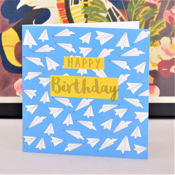 Birthday Card, Paper Planes, Happy Birthday, text foiled in shiny gold