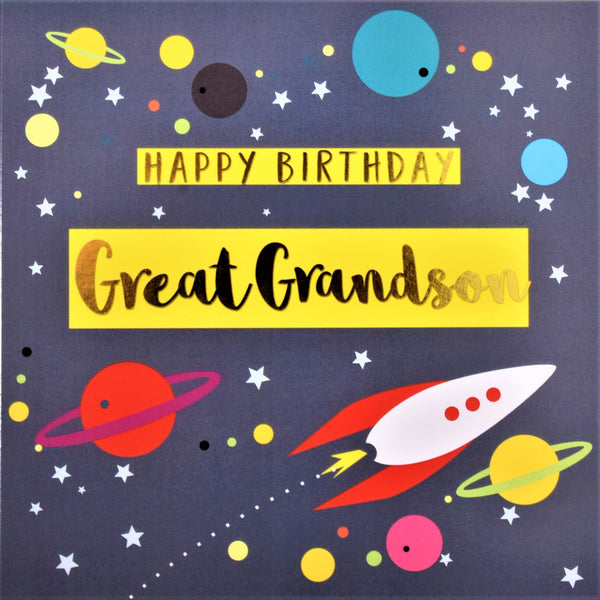 Birthday Card, Great Grandson Rocket and Stars, text foiled in shiny gold