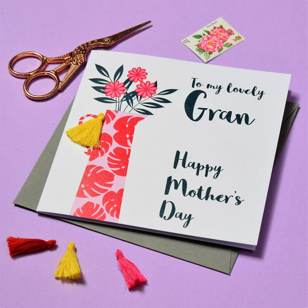 Mother's Day Card, Flowers, Lovely Gran, Embellished with a colourful tassel