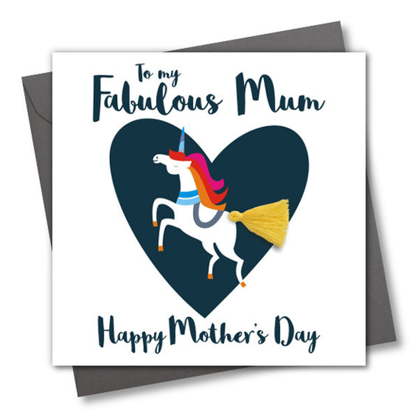 Mother's Day Card, Unicorn, Fabulous Mum, Embellished with a colourful tassel