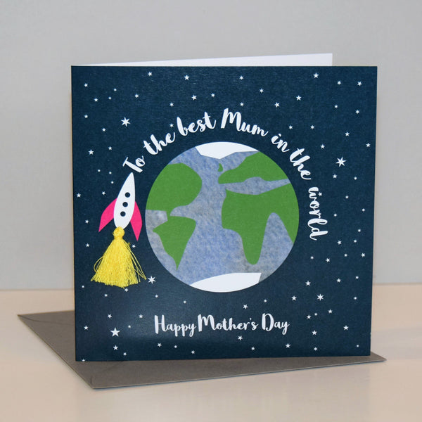 Mother's Day Card, World, Best Mum, Embellished with a colourful tassel