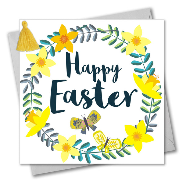 Easter Card, Daffodil Wreath, Happy Easter, Embellished with a colourful tassel