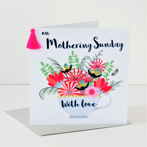 Mother's Day Card, Teacup, Mothering Sunday, Embellished with a colourful tassel