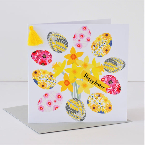 Easter Card, Daffodils, Happy Easter, Embellished with a colourful tassel