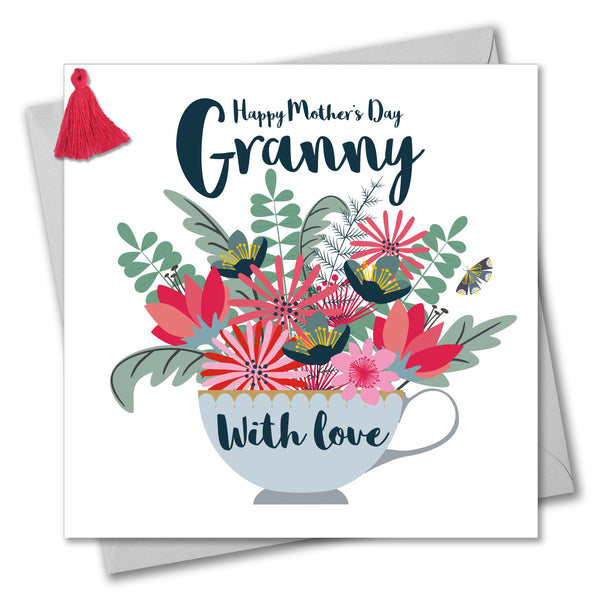 Mother's Day Card, Teacup, Granny, Embellished with a colourful tassel