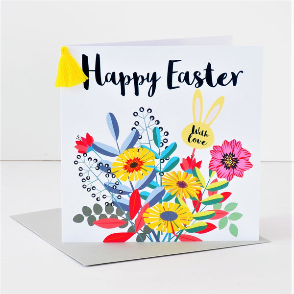 Easter Card, Bouquet, Happy Easter, Embellished with a colourful tassel