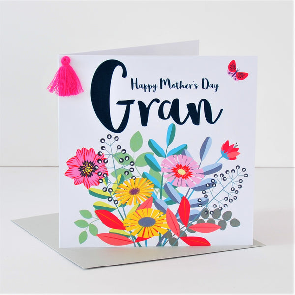 Mother's Day Card, Bouquet, Gran, Embellished with a colourful tassel