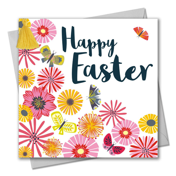 Easter Card, Tumbling Flowers, Happy Easter, Embellished with a colourful tassel