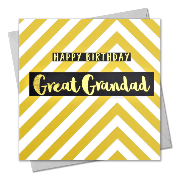 Birthday Card, Great Grandad Yellow Chevrons, text foiled in shiny gold