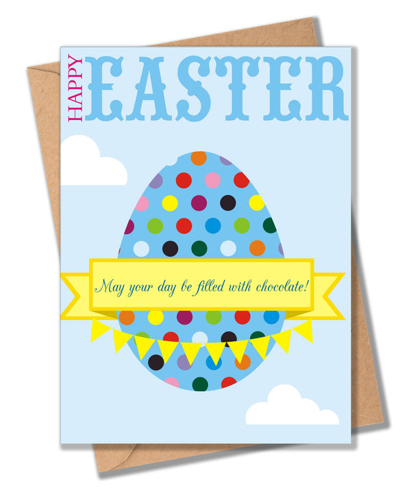 Easter Card, Dotty Easter Egg, May your days be filled with chocolate