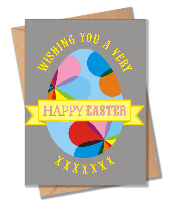 Easter Card, Dotty Egg, Wishing you a very Happy Easter