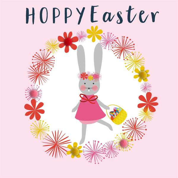 Easter Card, Bunny Girl, Hoppy Easter, Embellished with colourful pompoms