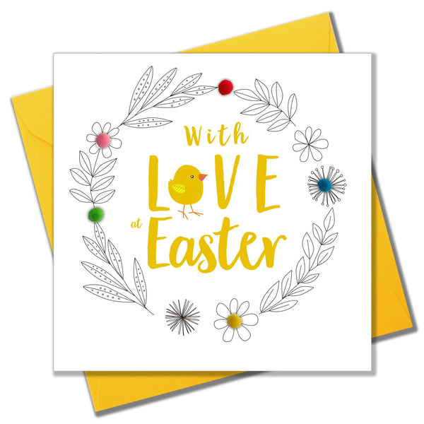 Easter Card, Chick and Wreath, Embellished with colourful pompoms