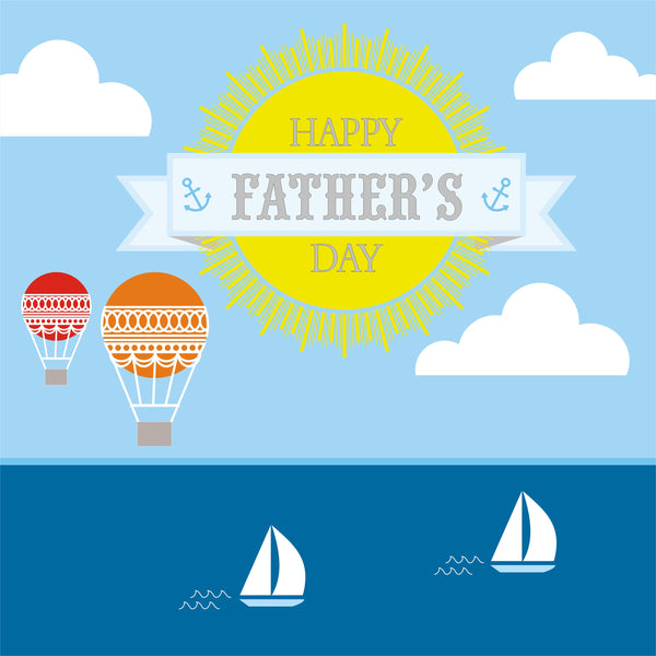 Father's Day Card, Boats and Balloons, Happy Father's Day