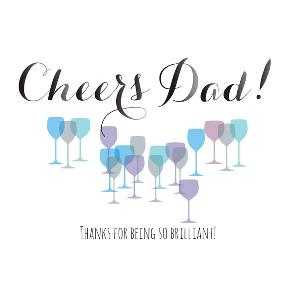 Father's Day Card, Champagne, Cheers Dad! Thanks for being so brilliant