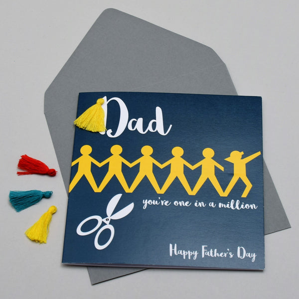 Father's Day Greeting Card, Dab Dad, Embellished with a colourful tassel