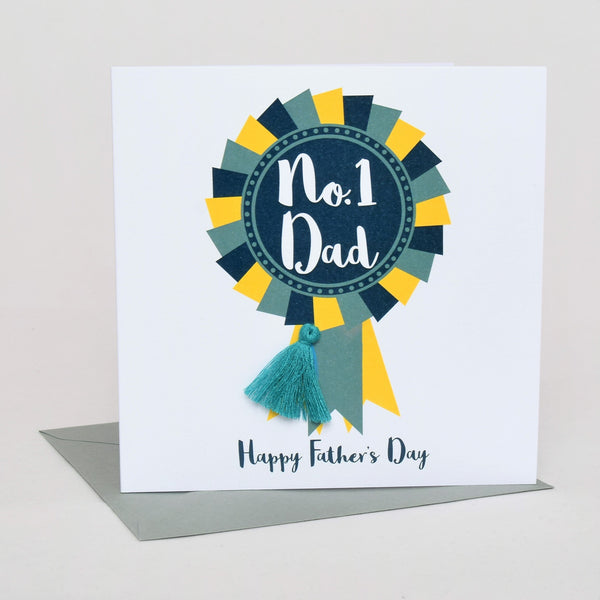 Father's Day Greeting Card, # 1 Dad Rosette, Embellished with a colourful tassel