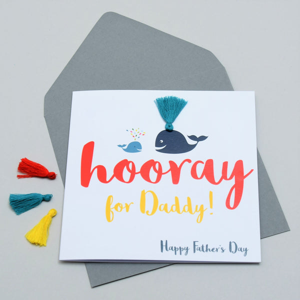 Father's Day Card, Daddy & Baby Whale, Embellished with colourful tassel