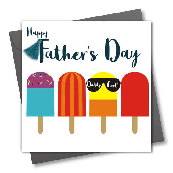 Father's Day Card, Ice Pops, Daddy Cool, Tassel Embellished