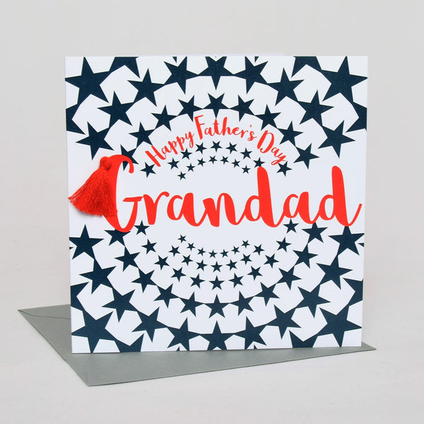 Father's Day Card, Stars, Happy Father's Day, Grandad, Tassel Embellished