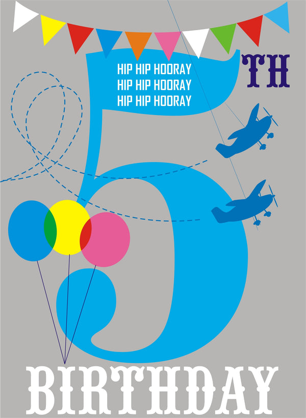 Birthday Card, Blue Age 5, 5th Birthday, Hip Hip Hooray