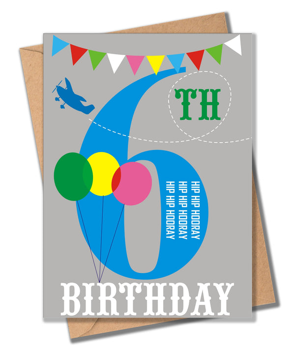 Birthday Card, Blue Age 6, 6th Birthday, Hip Hip Hooray