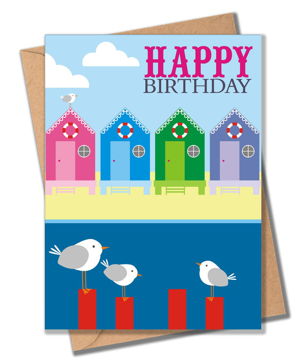 Birthday Card, Beach Huts, Happy Birthday