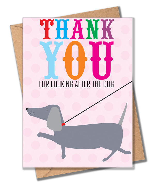 Thank You Card, Dog on Lead, Thank you for looking after the Dog