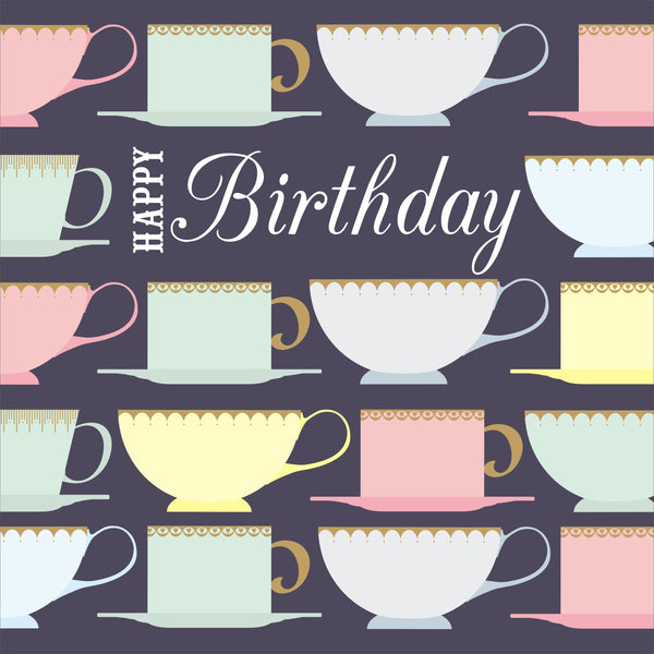 Birthday Card, Tea Cups, Happy Birthday