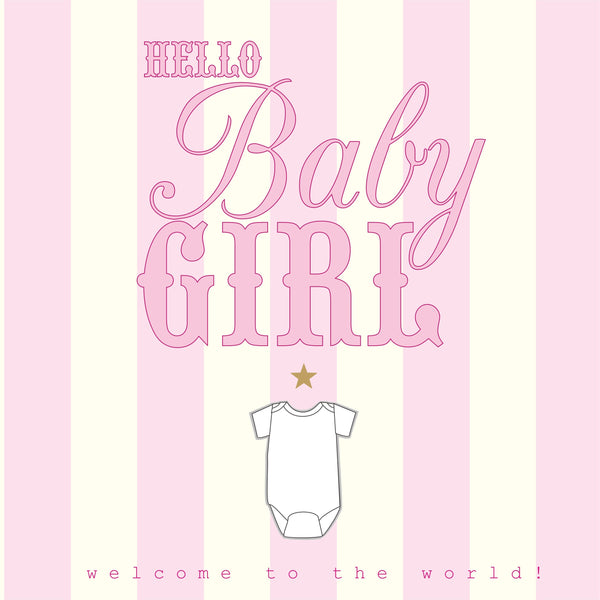Baby Card, Pink Stripes, Hello Baby Girl
