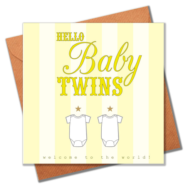 Baby Card, Yellow Stripes, Hello Baby Twins