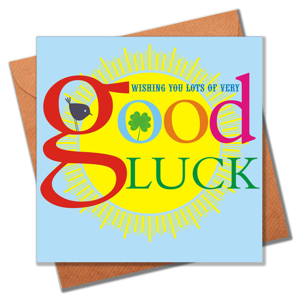 Good Luck Card, Four Leaf Clover, Sun and Bird