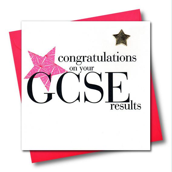 Congratulations on your GCSE results, Pink Star, Embellished with a padded star