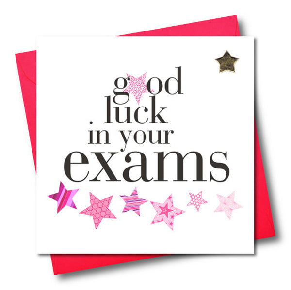 Exam Good Luck Card, Pink Stars, Embellished with a padded star