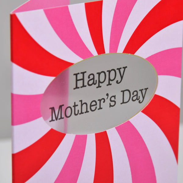 Mother's Day Card, Pink Spirals, Happy Mother's Day, See through acetate window