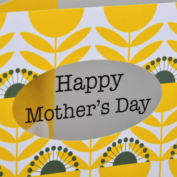 Mother's Day Card, 70's Flowers, Happy Mother's Day, See through acetate window