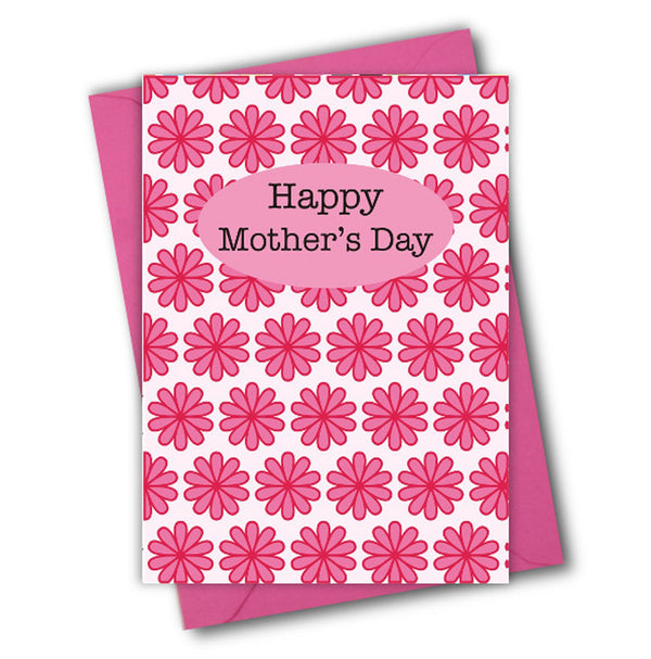 Mother's Day Card, Pink Flowers, Happy Mother's Day, See through acetate window