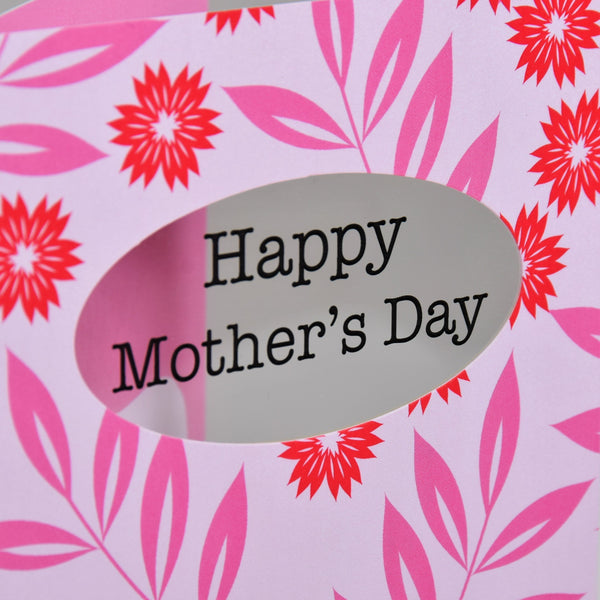Mother's Day Card, Flowers and Leaves, See through acetate window