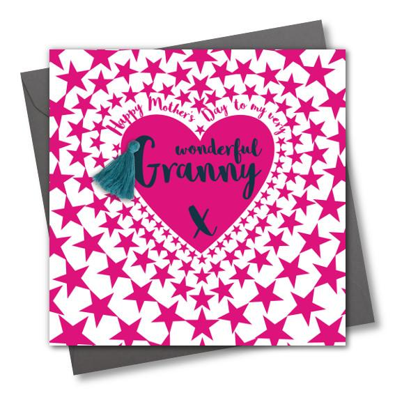 Mother's Day Card, Pink Star heart, Granny, Embellished with a colourful tassel