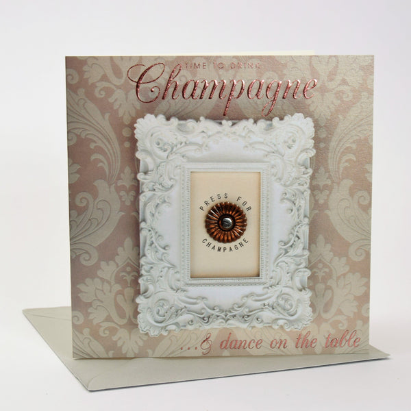 Birthday Card, Press for Service, Champagne, Embossed and Foiled text