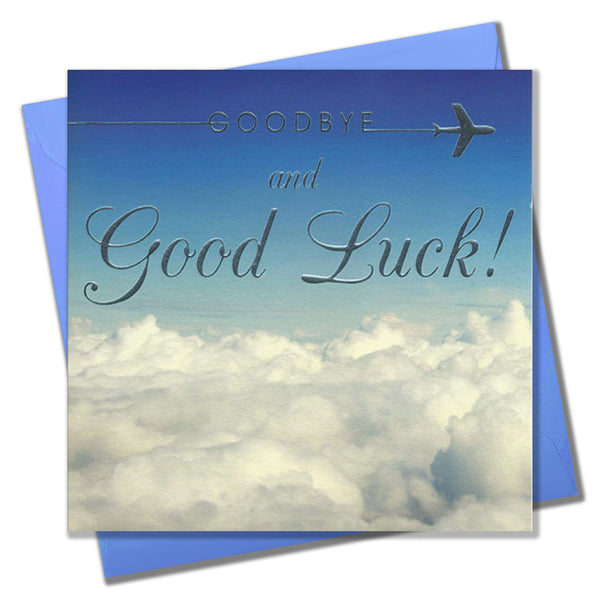 Goodbye & Good Luck Card, Blue Sky Horizon, Embossed and Foiled text