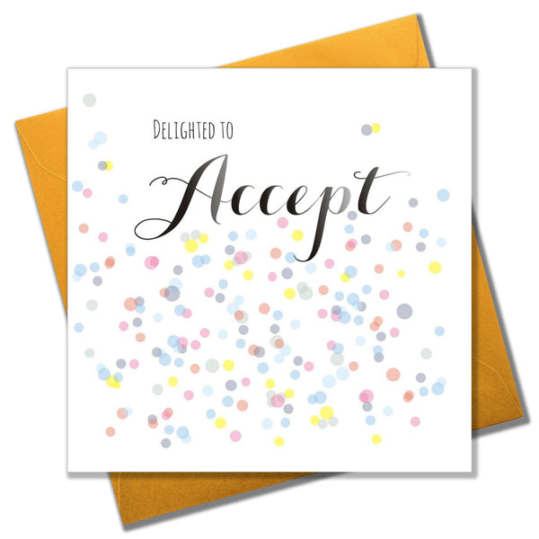 Wedding Card, Dots, Delighted to Accept