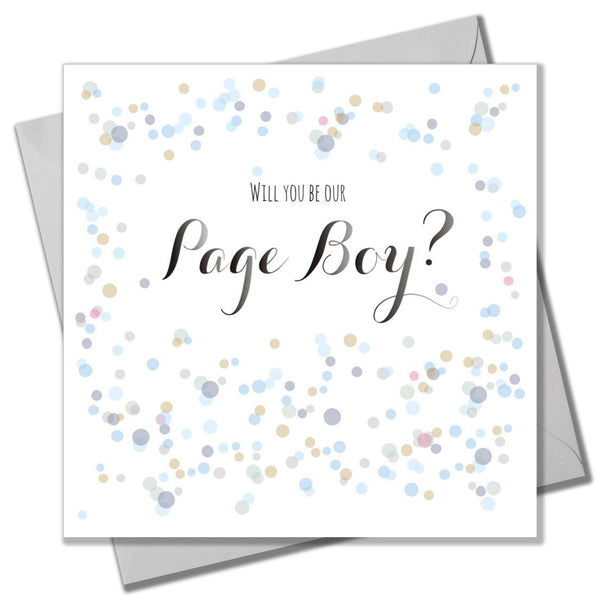 Wedding Card, Dots, Will you be our Page Boy?