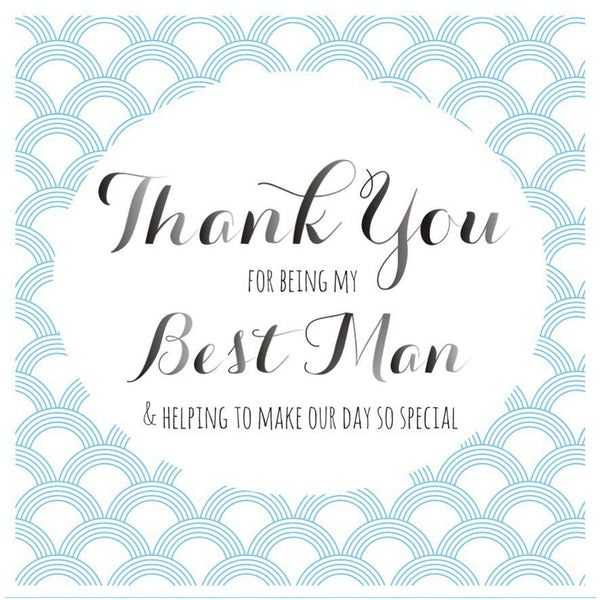 Wedding Card, Blue Circles, Thank you for being my Best Man