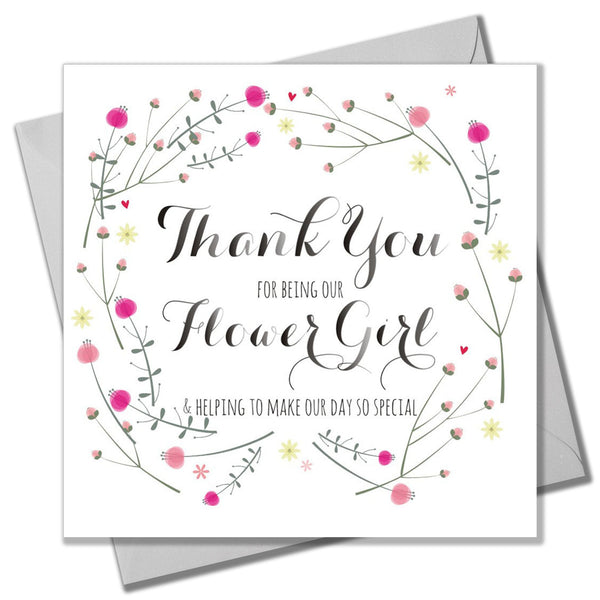 Wedding Card, Flowers, Thank you for being our Flower Girl