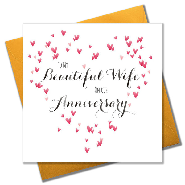 Wedding Card, Heart, Beautiful Wife Anniversary