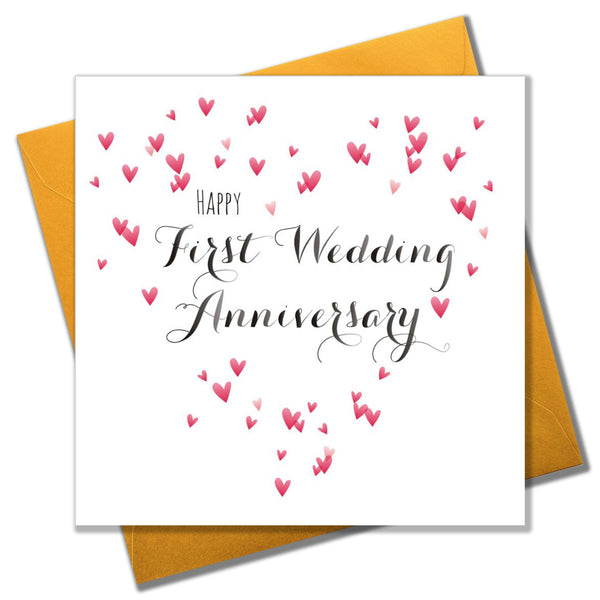 Wedding Card, Heart, Happy First Wedding Anniversary